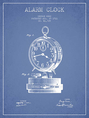 Alarm Clock Patent From 1911 - Light Blue Poster by Aged Pixel