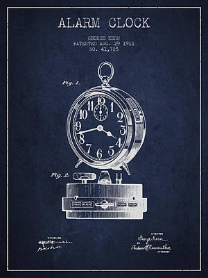 Alarm Clock Patent From 1911 - Navy Blue Poster by Aged Pixel