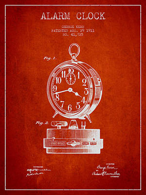 Alarm Clock Patent From 1911 - Red Poster by Aged Pixel