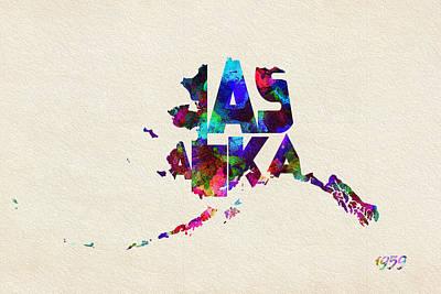 Alaska Typographic Watercolor Map Poster by Ayse Deniz