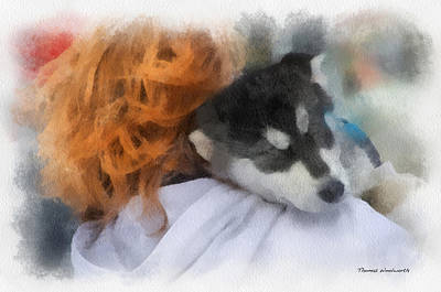 Alaskan Malamute Puppy Photo Art Poster by Thomas Woolworth