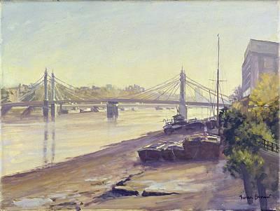 Albert Bridge Oil On Canvas Poster by Julian Barrow