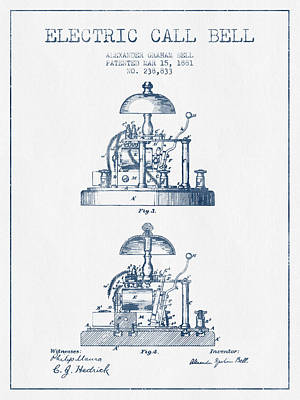Alexander Bell Electric Call Bell Patent From 1881 - Blue Ink Poster by Aged Pixel