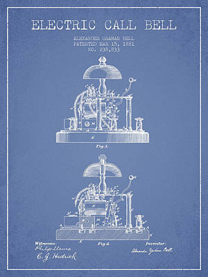 Alexander Bell Electric Call Bell Patent From 1881 - Light Blue Poster by Aged Pixel
