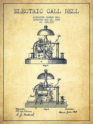 Alexander Bell Electric Call Bell Patent From 1881 - Vintage Poster by Aged Pixel