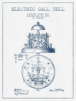 Alexander Graham Bell Electric Call Bell Patent From 1881 - Blue Poster by Aged Pixel
