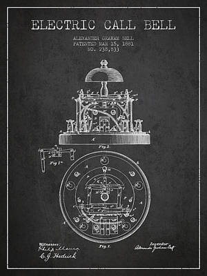 Alexander Graham Bell Electric Call Bell Patent From 1881 - Dark Poster by Aged Pixel