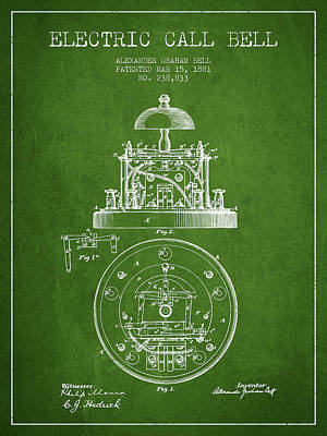 Alexander Graham Bell Electric Call Bell Patent From 1881 - Gree Poster by Aged Pixel