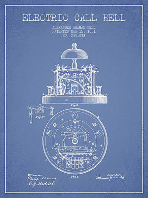 Alexander Graham Bell Electric Call Bell Patent From 1881 - Ligh Poster by Aged Pixel