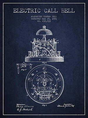 Alexander Graham Bell Electric Call Bell Patent From 1881 - Navy Poster by Aged Pixel