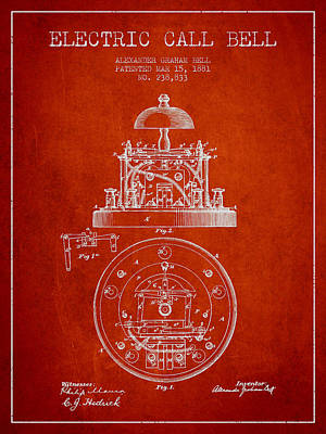 Alexander Graham Bell Electric Call Bell Patent From 1881 - Red Poster by Aged Pixel