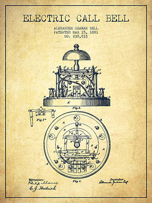 Alexander Graham Bell Electric Call Bell Patent From 1881 - Vint Poster by Aged Pixel