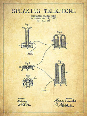 Alexander Graham Bell Speaking Telephone Patent From 1878 - Vint Poster by Aged Pixel