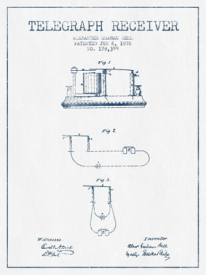 Alexander Graham Bell Telegraph Receiver Patent From 1876 - Blue Poster by Aged Pixel