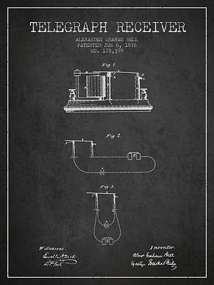 Alexander Graham Bell Telegraph Receiver Patent From 1876 - Dark Poster by Aged Pixel