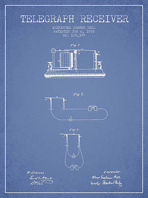Alexander Graham Bell Telegraph Receiver Patent From 1876 - Ligh Poster by Aged Pixel