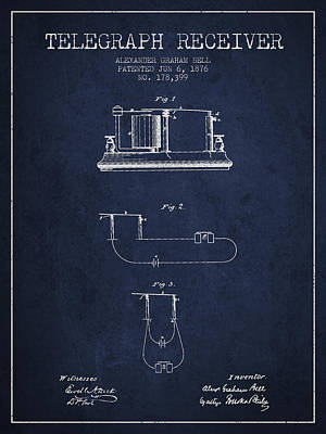Alexander Graham Bell Telegraph Receiver Patent From 1876 - Navy Poster by Aged Pixel