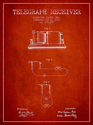 Alexander Graham Bell Telegraph Receiver Patent From 1876 - Red Poster by Aged Pixel