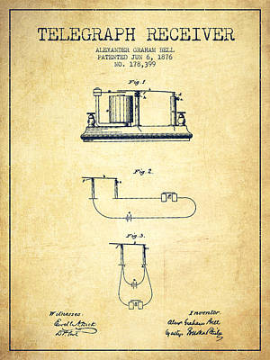 Alexander Graham Bell Telegraph Receiver Patent From 1876 - Vint Poster by Aged Pixel