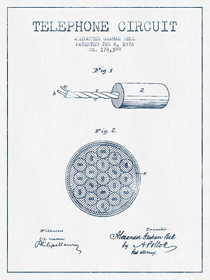 Alexander Graham Bell Telephone Circuit Patent From 1876 - Blue  Poster by Aged Pixel