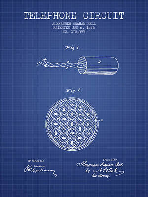 Alexander Graham Bell Telephone Circuit Patent From 1876 - Bluep Poster by Aged Pixel