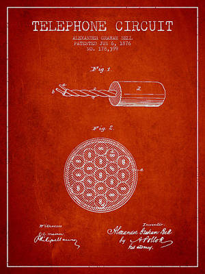 Alexander Graham Bell Telephone Circuit Patent From 1876 - Red Poster by Aged Pixel
