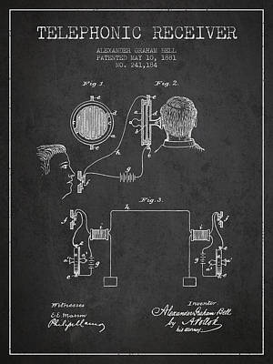 Alexander Graham Bell Telephonic Receiver Patent From 1881- Dark Poster by Aged Pixel