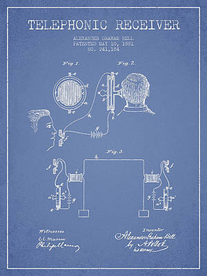 Alexander Graham Bell Telephonic Receiver Patent From 1881- Ligh Poster by Aged Pixel