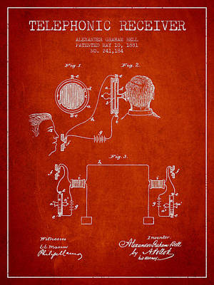 Alexander Graham Bell Telephonic Receiver Patent From 1881- Red Poster by Aged Pixel