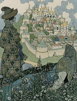 Alexander Pushkin's Fairytale Of The Tsar Saltan Poster by Ivan Jakovlevich Bilibin