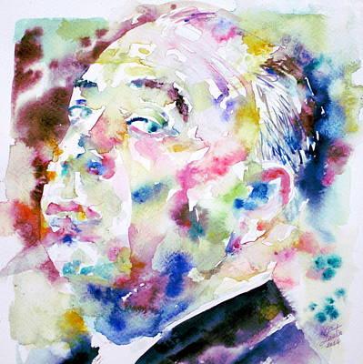 Alfred Hitchcock Watercolor Portrait.1 Poster by Fabrizio Cassetta