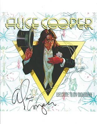 Alice Cooper Original Signature On Welcome To My Nightmare Album Artwork. Poster by Desiderata Gallery