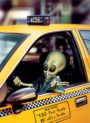 Alien Cab Poster by Steve Read