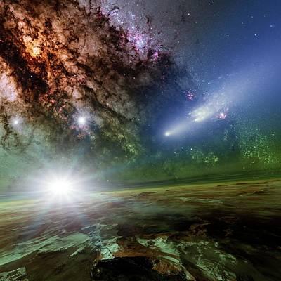 Alien Planet And Comet Poster by Detlev Van Ravenswaay