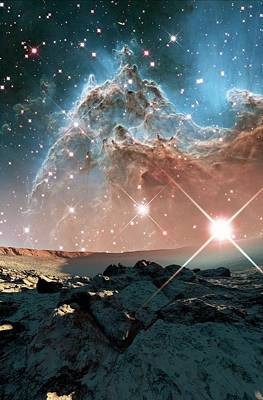 Alien Planet And Monkey Head Nebula Poster by Nasa, Esa, And The Hubble Heritage Team (stsci/aura)/detlev Van Ravenswaay