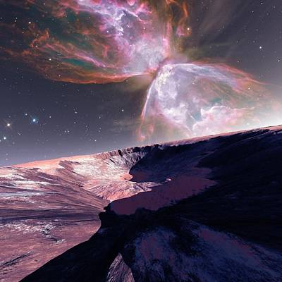 Alien Planet And Nebula Poster by Detlev Van Ravenswaay