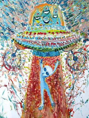 Aliens Abducting An Alien-cosmic Darwinism Poster by Fabrizio Cassetta