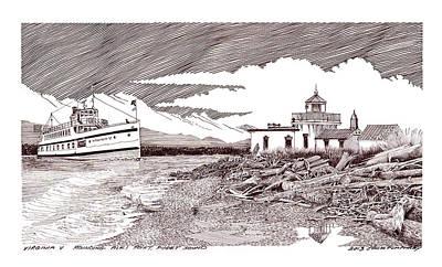 Steamship Virgina V Rounding Alki Point Seattle Poster by Jack Pumphrey