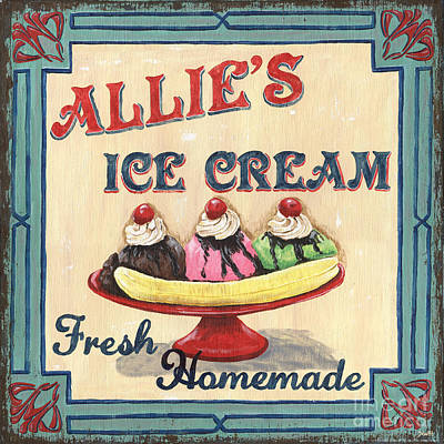 Allie's Ice Cream Poster by Debbie DeWitt
