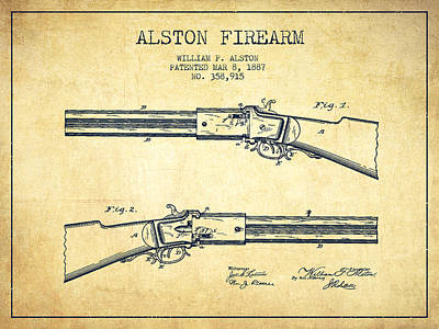 Alston Firearm Patent Drawing From 1887- Vintage Poster by Aged Pixel