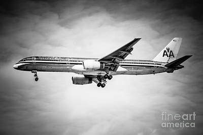 Amercian Airlines Airplane In Black And White Poster by Paul Velgos