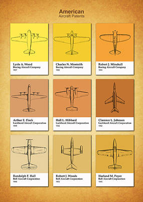 American Airplane Patents Poster by Mark Rogan