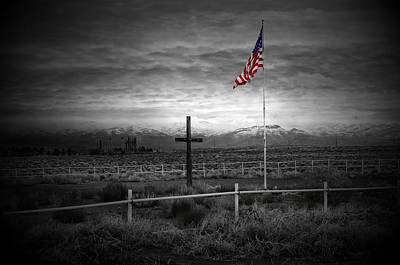 American Flag With Cross Poster by Scott McGuire