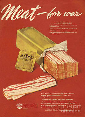 American Meat Institute 1950s Usa Bacon Poster by The Advertising Archives