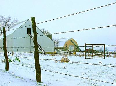 Amish Farm In Winter Poster by Julie Dant