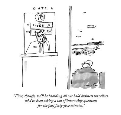 An Airport Gate Agent Makes An Announcement Poster by Michael Crawford