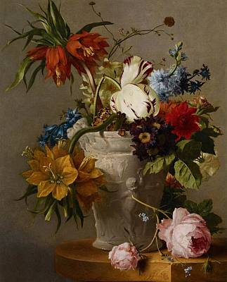 An Arrangement With Flowers Poster by Georgius Jacobus Johannes van Os