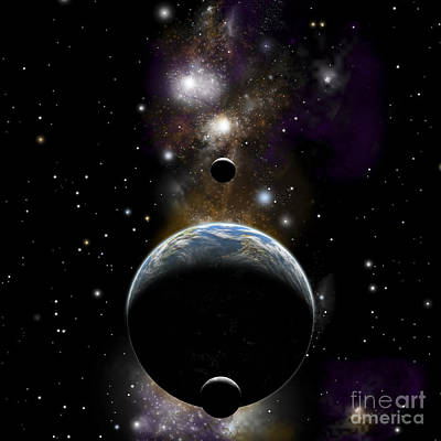 An Earth Type World With Two Moons Poster by Marc Ward