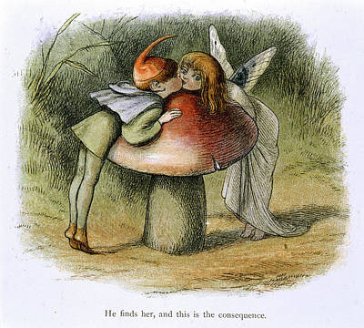 An Elf And A Fairy Kissing Poster by British Library