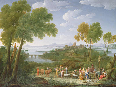 An Extensive Italianate Landscape With A Sacrifice, 1728 Oil On Canvas Poster by Hendrik van Lint